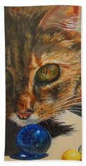 Hand Towel featuring the painting Curious by Karen Ilari