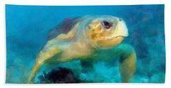 Hand Towel featuring the mixed media Curious Sea Turtle by David  Van Hulst