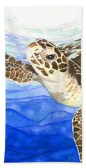 Curious Sea Turtle Hand Towel