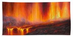 Erupting Kilauea Volcano On The Big Island Of Hawaii - Lava Curtain Bath Towel
