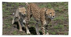 Cute Cheetah Wait For Me Mommy Hand Towel by Tom Wurl