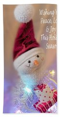 Cutest Snowman Christmas Card Hand Towel by Janie Johnson