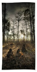 Cypress Stumps And Sunset Fire Bath Towel