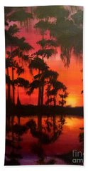 Cypress Swamp At Sunset Bath Towel