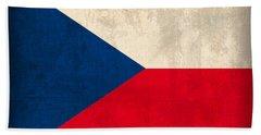 Czech Republic Flag Vintage Distressed Finish Bath Towel