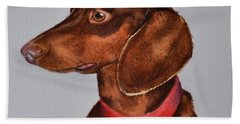 Dachshund Watercolor Painting Hand Towel