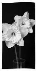 Daffodil Flowers Black And White Bath Towel