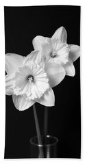 Daffodil Flowers Black And White Hand Towel by Jennie Marie Schell