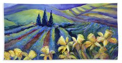 Daffodils And Stormclouds Bath Towel