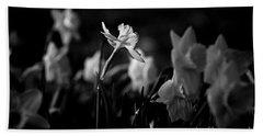 Daffodils In Black And White Bath Towel