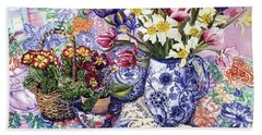 Daffodils Tulips And Iris In A Jacobean Blue And White Jug With Sanderson Fabric And Primroses Bath Towel