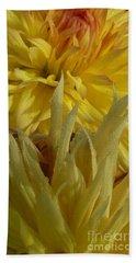 Dahlia Dew Yellow Hand Towel by Susan Garren