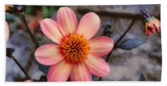 Bath Towel featuring the digital art Dahlia First Love by Paul Gulliver