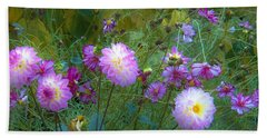 Bath Towel featuring the photograph Dahlias And Cosmos  by Judy Via-Wolff