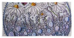 Daisies And A Butterfly Bath Towel by Megan Walsh
