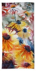 Bath Towel featuring the painting Daisies by Jani Freimann