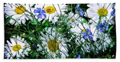 Daisies With Blue Flax And Bee Hand Towel by Roselynne Broussard
