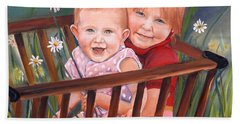 Bath Towel featuring the painting Daisy - Portrait - Girls In Wagon by Jan Dappen
