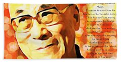 Dali Lama And Man Hand Towel by Barbara Chichester