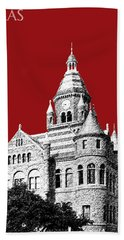 Dallas Skyline Old Red Courthouse - Dark Red Hand Towel