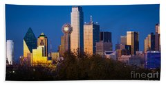 Dallas Skyline Hand Towel by Inge Johnsson
