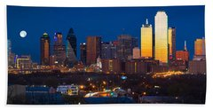 Dallas Skyline Panorama Hand Towel by Inge Johnsson