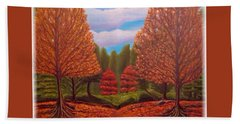 Bath Towel featuring the painting Dance Of Autumn Gold With Blue Skies Revised by Kimberlee Baxter