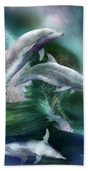 Bath Towel featuring the mixed media Dance Of The Dolphins by Carol Cavalaris