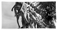Dancers Practice On Palm Tree Hand Towel