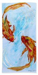 Hand Towel featuring the painting Dancing Koi Sold by Antonia Citrino