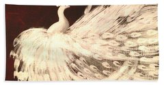 Dancing Peacock Cream Hand Towel by Anita Lewis