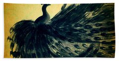 Dancing Peacock Gold Hand Towel by Anita Lewis