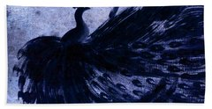 Dancing Peacock Navy Hand Towel by Anita Lewis