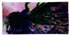Dancing Peacock Rainbow Hand Towel by Anita Lewis
