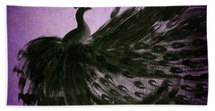 Dancing Peacock Vivid Purple Hand Towel by Anita Lewis