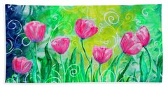 Dancing Tulips Bath Towel