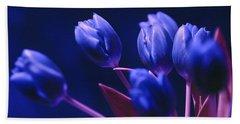 Dark Blue Tulips Bath Towel