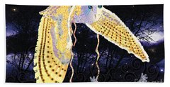 Bath Towel featuring the digital art Dark Kindred Owl by Kim Prowse