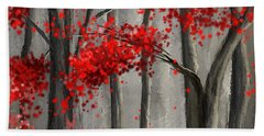 Dark Passion- Red And Gray Art Hand Towel
