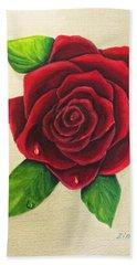 Dark Red Rose Bath Towel