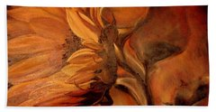 Bath Towel featuring the painting Dark Sunflower by Sorin Apostolescu
