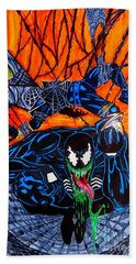 Hand Towel featuring the drawing Darkhawk Issue 13 Homage by Justin Moore