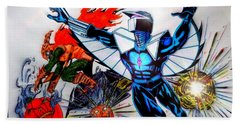Hand Towel featuring the drawing Darkhawk Vs Hobgoblin Focused by Justin Moore