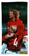 David Beckham And Juan Sebastian Veron Hand Towel by Paul Meijering