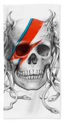 David Bowie Aladdin Sane Medusa Skull Bath Towel