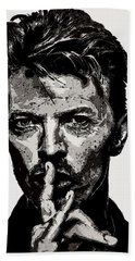 David Bowie - Pencil Bath Towel by Doc Braham