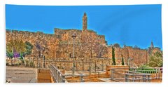 Hand Towel featuring the photograph Davids Citadel - Israel by Doc Braham