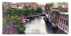 Bath Towel featuring the photograph Dawn Rain Amsterdam by Susan Maxwell Schmidt