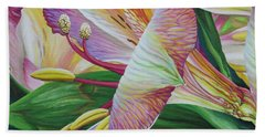 Bath Towel featuring the painting Day Lilies by Jane Girardot