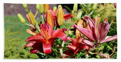 Day Lillies In The Garden Bath Towel